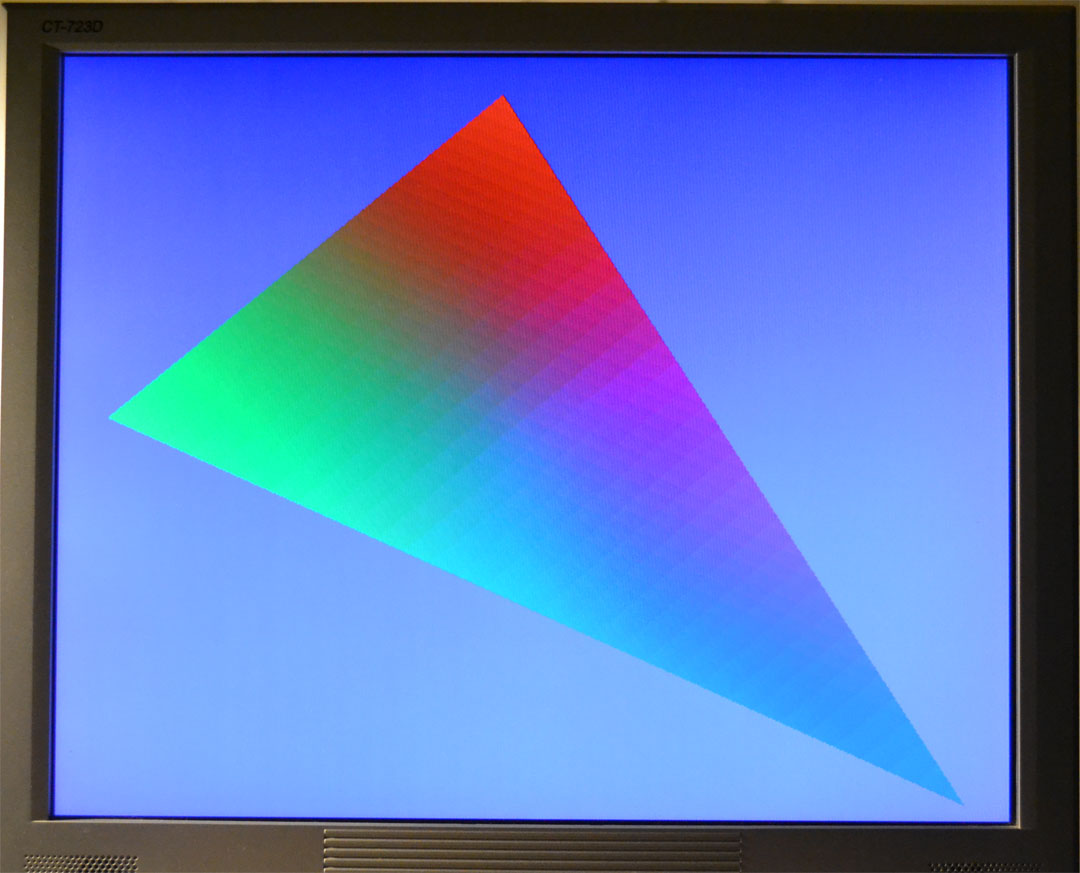 Smooth Shaded Triangle Rendered by Directly Prodding the Voodoo Registers