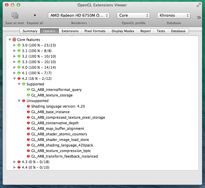 Mac OS X 10.9 Mavericks in OpenGL Extensions Viewer