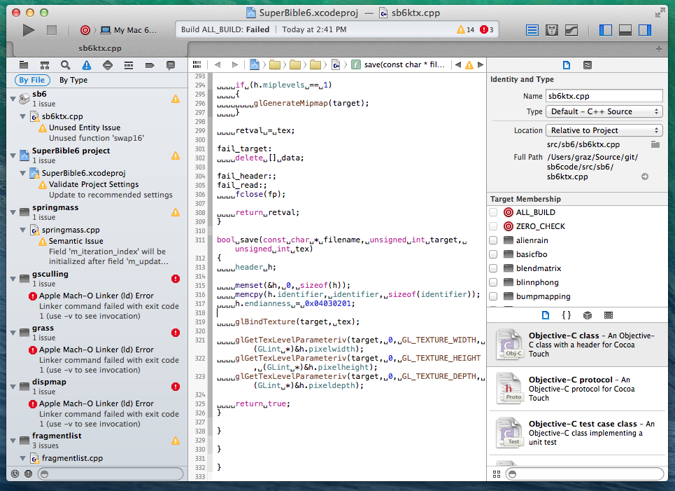 First Pass at SuperBible 6 Samples in Xcode